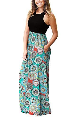 PCEAIIH Women's Casual Sleeveless/Long Sleeve Maxi Dress Loose Long Dresses with Pockets 4