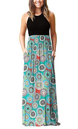 PCEAIIH Women's Casual Sleeveless/Long Sleeve Maxi Dress Loose Long Dresses with Pockets 1