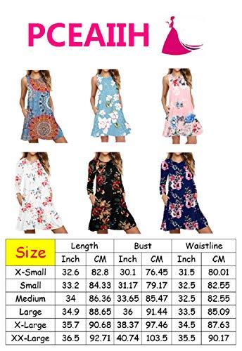 PCEAIIH Women's Sleeveless/Long Sleeve Pockets Casual Swing T-Shirt Summer Dress 4