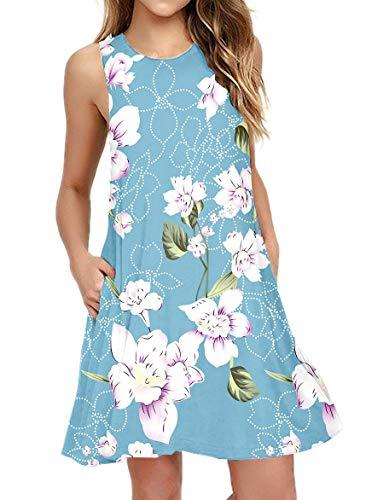PCEAIIH Women's Sleeveless/Long Sleeve Pockets Casual Swing T-Shirt Summer Dress 1
