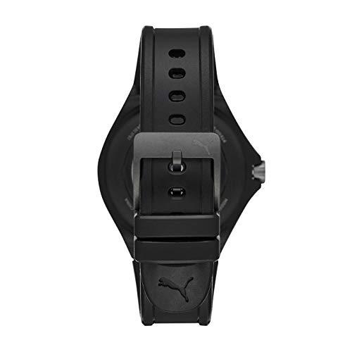 PUMA Sport - Men's 44mm Heart Rate Smartwatch, Black Silicone Band Lightweight Touchscreen - PT9100 4