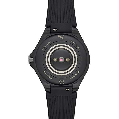 PUMA Sport - Men's 44mm Heart Rate Smartwatch, Black Silicone Band Lightweight Touchscreen - PT9100 5