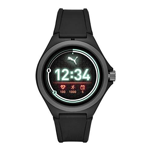 PUMA Sport - Men's 44mm Heart Rate Smartwatch, Black Silicone Band Lightweight Touchscreen - PT9100 1
