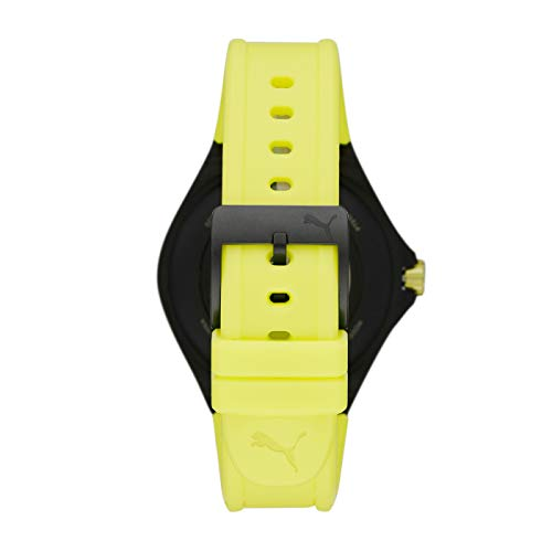 PUMA Sport - Men's 44mm Heart Rate Smartwatch, Neon Yellow Silicone Band Lightweight Touchscreen - PT9101 4