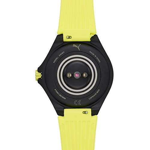 PUMA Sport - Men's 44mm Heart Rate Smartwatch, Neon Yellow Silicone Band Lightweight Touchscreen - PT9101 6