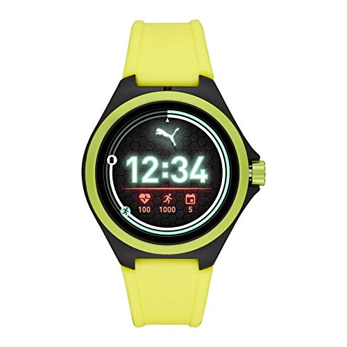 PUMA Sport - Men's 44mm Heart Rate Smartwatch, Neon Yellow Silicone Band Lightweight Touchscreen - PT9101 2