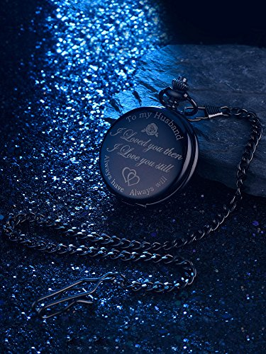 Pangda Pocket Watch Men Watch Engraved Pocket Watch to Gift for Husband on Anniversary 7