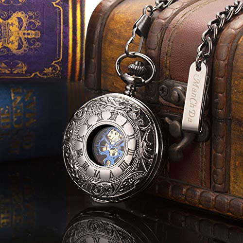 Pocket Watch - Double Engraved Skeleton Dial ManChDa Retro Mens Mechanical Watch Golden Movement with Chain + Gift Box 4
