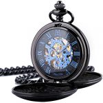 Pocket Watch - Double Engraved Skeleton Dial ManChDa Retro Mens Mechanical Watch Golden Movement with Chain + Gift Box 17