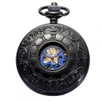 Pocket Watch - Double Engraved Skeleton Dial ManChDa Retro Mens Mechanical Watch Golden Movement with Chain + Gift Box 20