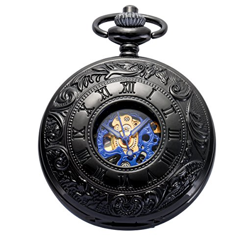 Pocket Watch - Double Engraved Skeleton Dial ManChDa Retro Mens Mechanical Watch Golden Movement with Chain + Gift Box 5