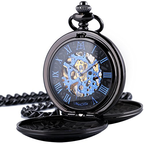 Pocket Watch - Double Engraved Skeleton Dial ManChDa Retro Mens Mechanical Watch Golden Movement with Chain + Gift Box 1