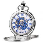 Pocket Watch - Double Engraved Skeleton Dial ManChDa Retro Mens Mechanical Watch Golden Movement with Chain + Gift Box 25