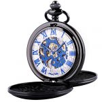 Pocket Watch - Double Engraved Skeleton Dial ManChDa Retro Mens Mechanical Watch Golden Movement with Chain + Gift Box 24