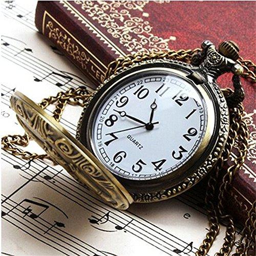 Profusion Circle Retro Hollow Steam Train Antique Style Quartz Pocket Watch Necklace Gift 3