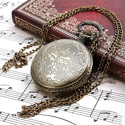 Profusion Circle Retro Hollow Steam Train Antique Style Quartz Pocket Watch Necklace Gift 4