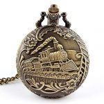 Profusion Circle Retro Hollow Steam Train Antique Style Quartz Pocket Watch Necklace Gift 11