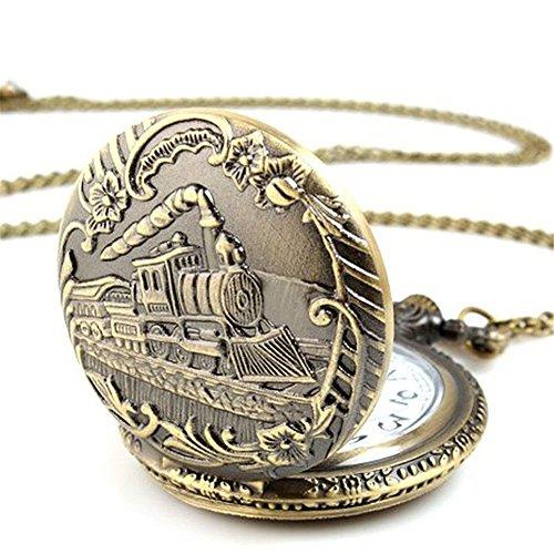 Profusion Circle Retro Hollow Steam Train Antique Style Quartz Pocket Watch Necklace Gift 5