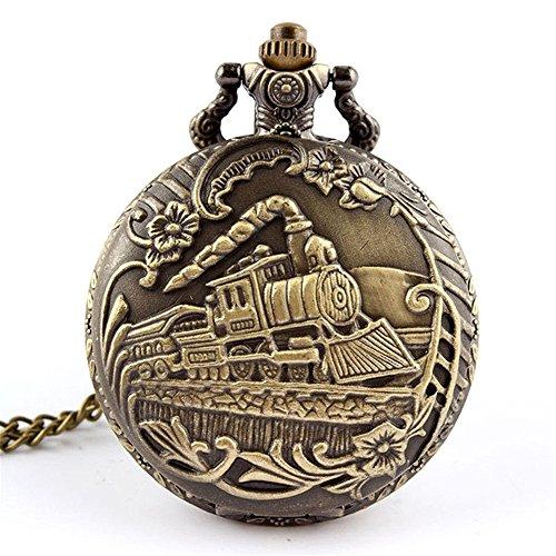 Profusion Circle Retro Hollow Steam Train Antique Style Quartz Pocket Watch Necklace Gift 1
