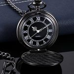 Quartz Pocket Watch for Men with Black Dial and Chain 18