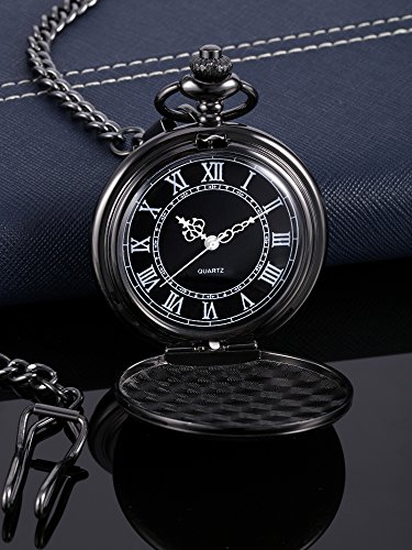 Quartz Pocket Watch for Men with Black Dial and Chain 3