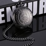 Quartz Pocket Watch for Men with Black Dial and Chain 19