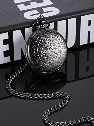 Quartz Pocket Watch for Men with Black Dial and Chain 4