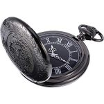 Quartz Pocket Watch for Men with Black Dial and Chain 17