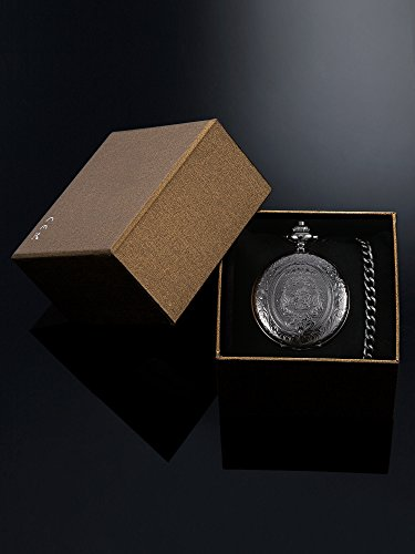 Quartz Pocket Watch for Men with Black Dial and Chain 5
