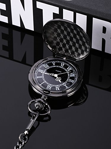 Quartz Pocket Watch for Men with Black Dial and Chain 6