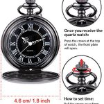 Quartz Pocket Watch for Men with Black Dial and Chain 22
