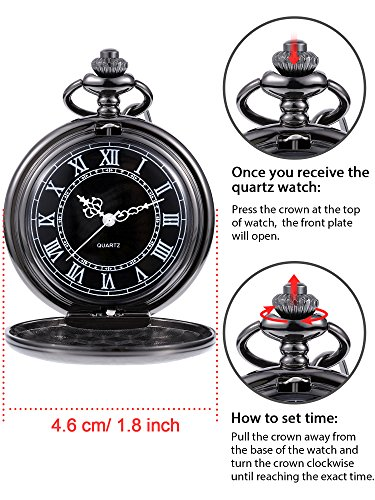Quartz Pocket Watch for Men with Black Dial and Chain 7
