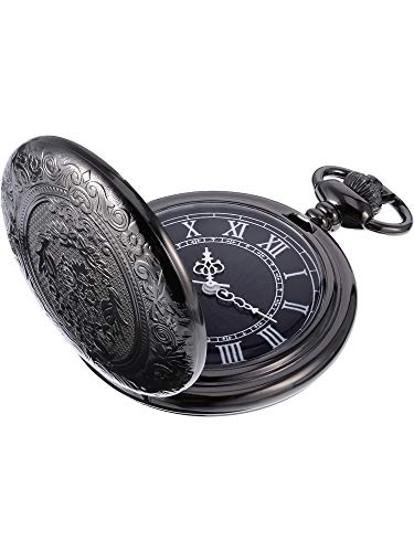 Quartz Pocket Watch for Men with Black Dial and Chain 1