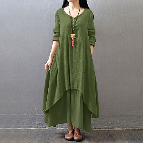 Romacci Women Boho Dress Casual Irregular Maxi Dresses Vintage Loose Cotton Viscose Dress,S-5XL 3