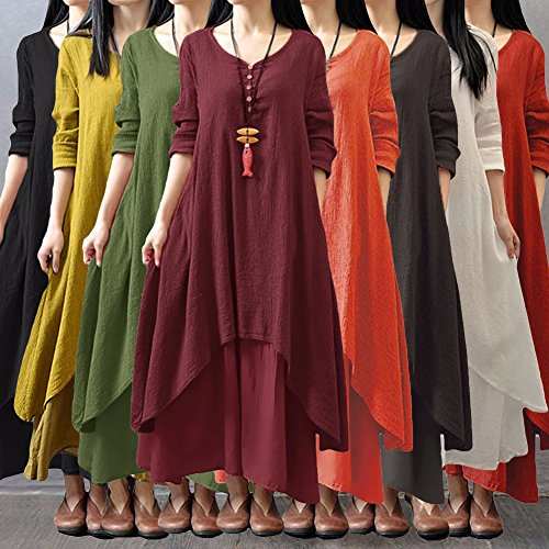 Romacci Women Boho Dress Casual Irregular Maxi Dresses Vintage Loose Cotton Viscose Dress,S-5XL 4
