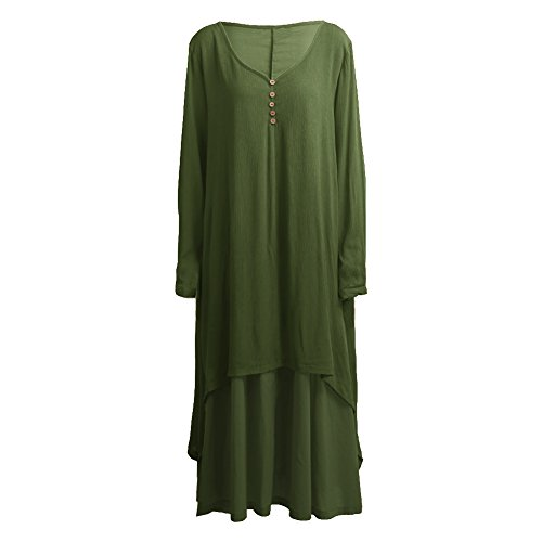 Romacci Women Boho Dress Casual Irregular Maxi Dresses Vintage Loose Cotton Viscose Dress,S-5XL 5