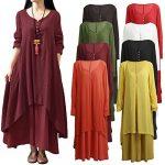 Romacci Women Boho Dress Casual Irregular Maxi Dresses Vintage Loose Cotton Viscose Dress,S-5XL 25