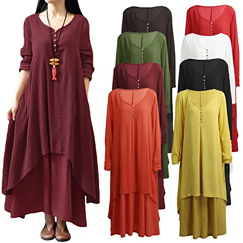 Romacci Women Boho Dress Casual Irregular Maxi Dresses Vintage Loose Cotton Viscose Dress,S-5XL 6
