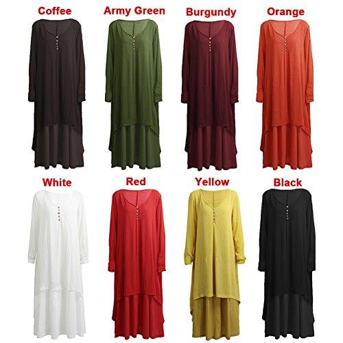 Romacci Women Boho Dress Casual Irregular Maxi Dresses Vintage Loose Cotton Viscose Dress,S-5XL 9