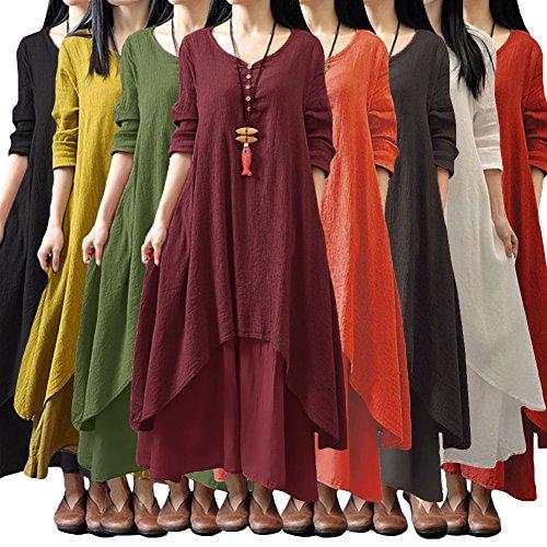 Romacci Women Boho Dress Casual Irregular Maxi Dresses Vintage Loose Cotton Viscose Dress,S-5XL 10