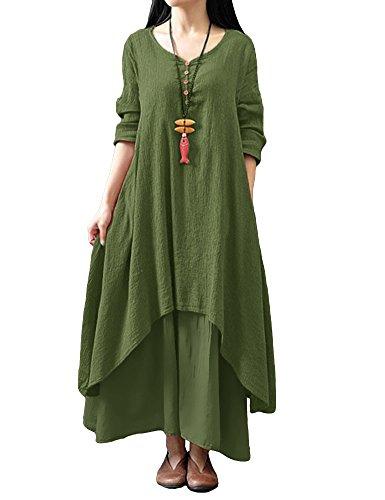Romacci Women Boho Dress Casual Irregular Maxi Dresses Vintage Loose Cotton Viscose Dress,S-5XL 1