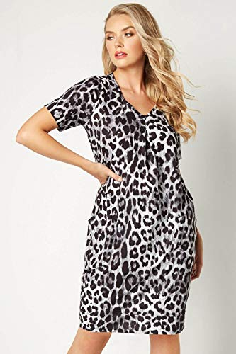 Roman Originals Women Animal Print Dress with Pockets Ladies Leopard Tunic Shift Jersey Slouch Oversized Fit Work Party… 3