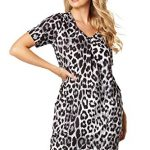 Roman Originals Women Animal Print Dress with Pockets Ladies Leopard Tunic Shift Jersey Slouch Oversized Fit Work Party… 21