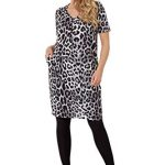 Roman Originals Women Animal Print Dress with Pockets Ladies Leopard Tunic Shift Jersey Slouch Oversized Fit Work Party… 24