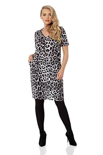 Roman Originals Women Animal Print Dress with Pockets Ladies Leopard Tunic Shift Jersey Slouch Oversized Fit Work Party… 5