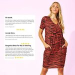 Roman Originals Women Animal Print Dress with Pockets Ladies Leopard Tunic Shift Jersey Slouch Oversized Fit Work Party… 26
