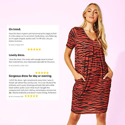 Roman Originals Women Animal Print Dress with Pockets Ladies Leopard Tunic Shift Jersey Slouch Oversized Fit Work Party… 7