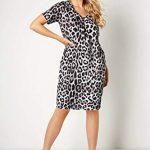 Roman Originals Women Animal Print Dress with Pockets Ladies Leopard Tunic Shift Jersey Slouch Oversized Fit Work Party… 29