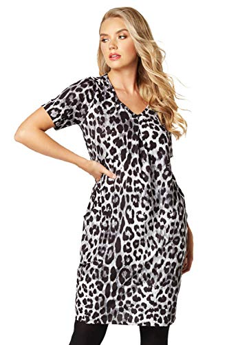 Roman Originals Women Animal Print Dress with Pockets Ladies Leopard Tunic Shift Jersey Slouch Oversized Fit Work Party… 1