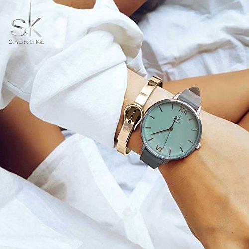 SHENGKE Creative Simplicity Women Watch Genuine Leather Elegant Women Watches Ladies Business Wristwatch 6